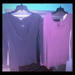 2 long sleeve blouses both size small